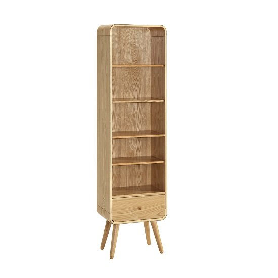 Worcester Wooden Tall Bookcase In Natural Ash With 1 Drawer