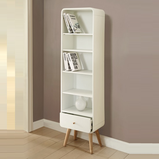 Worcester Wooden Tall Bookcase In White Ash With 1 Drawer