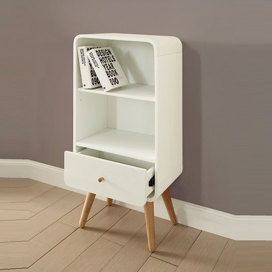 Worcester Wooden Small Bookcase In White Ash With 1 Drawer