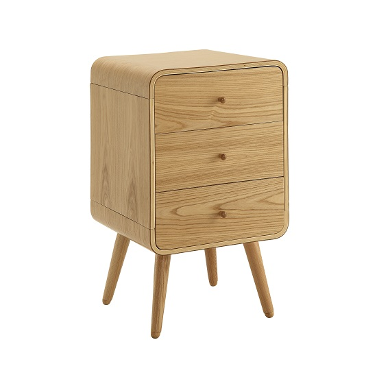 Worcester Wooden Office Pedestal In Natural Ash With 3 Drawer