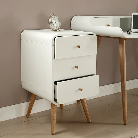 Worcester Wooden Office Pedestal In White Ash With 3