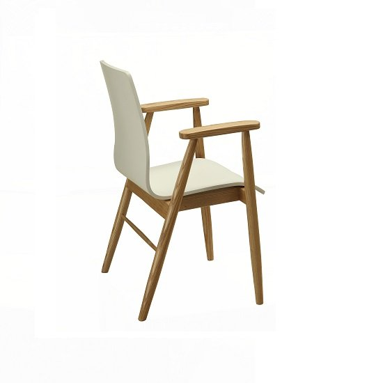 Worcester Home Office Chair In White Ash With Armrests