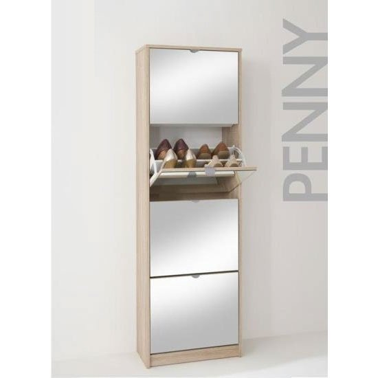 Tall Wooden Shoe Cabinet With Mirrors In Oak