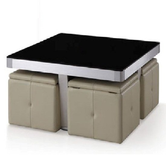Perth Black Glass Top Coffee Table With 4 Storage Stools