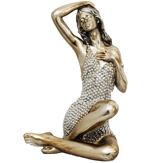 Sitting Lady Figure Big Sculpture With Gem