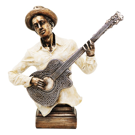 Musician With Guitar Sculpture