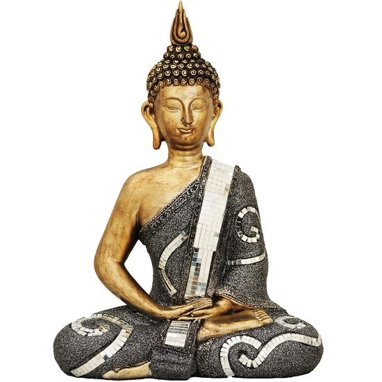 Sitting Buddha Sculpture In Gold Finish_1