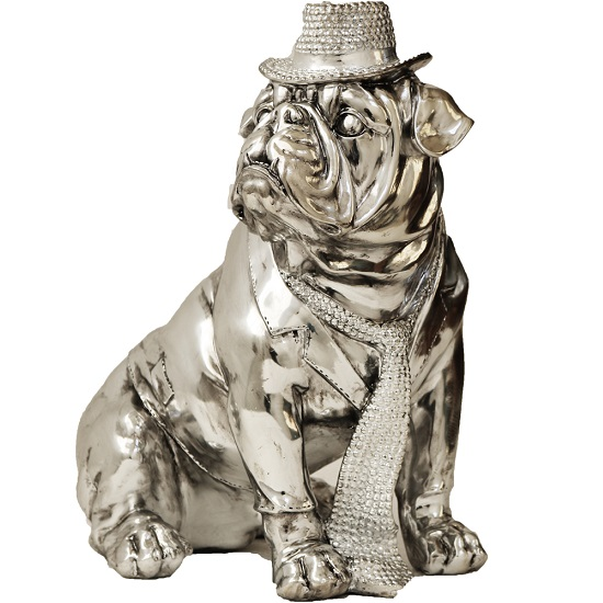 Electroplated Big Size Sitting Dog With Hat Sculpture