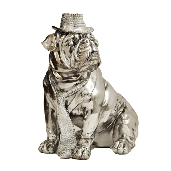 Electroplated Small Size Sitting Dog With Hat Sculpture