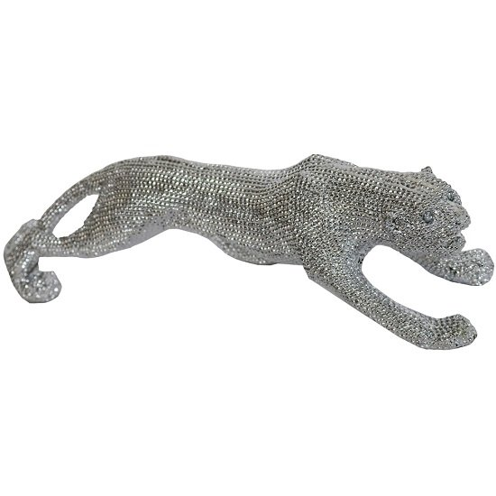 Walking Leopard Big Size Sculpture In Silver Finish