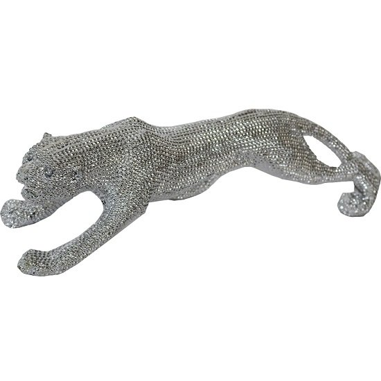 Walking Leopard Small Size Sculpture In Silver Finish