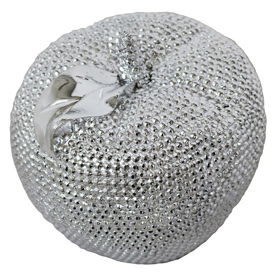 Electroplated Jewel Apple Sculpture In Silver Finish