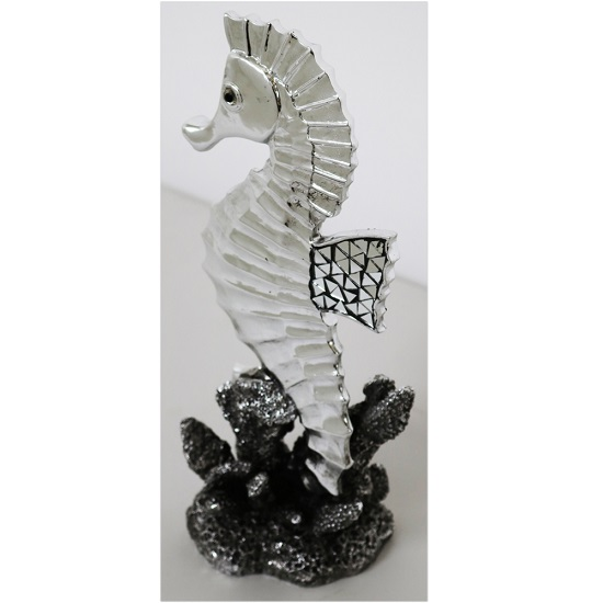 Seahorse Sculpture In Silver Finish_1