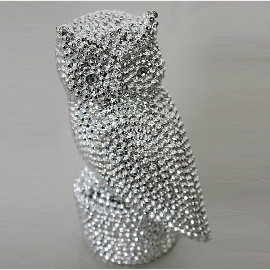 Jewel Owl Sculpture In Silver Finish_1