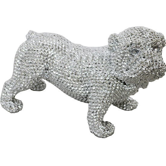 Jewel Dog Sculpture In Silver Finish_1