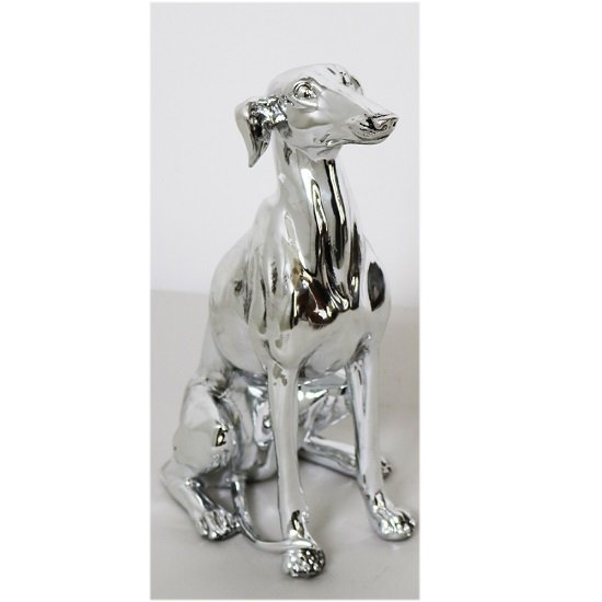 Dog Sitting Sculpture In Silver Finish