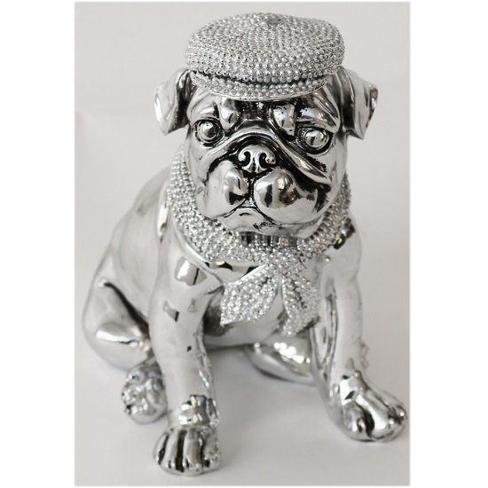 Dog With Hat And Scarf Sitting Sculpture
