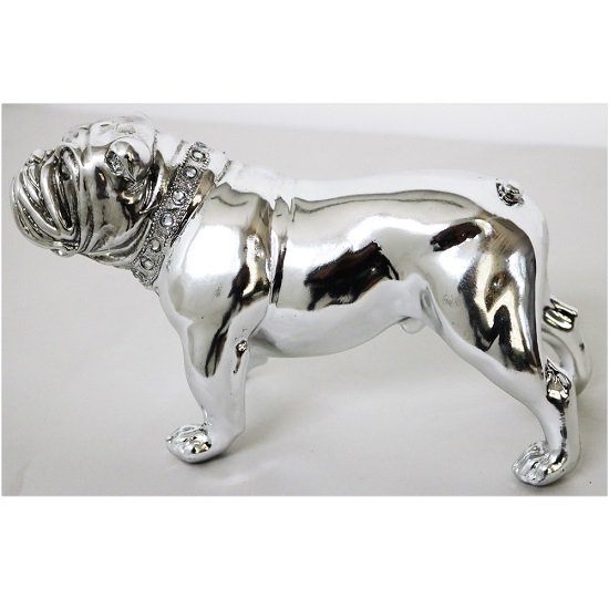 Bulldog Standing Sculpture In Silver Finish