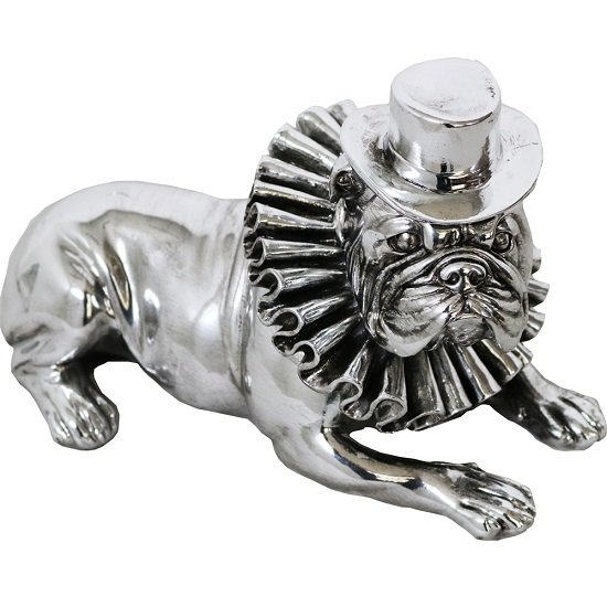 Bulldog With Hat And Ruffle Collar Sculpture