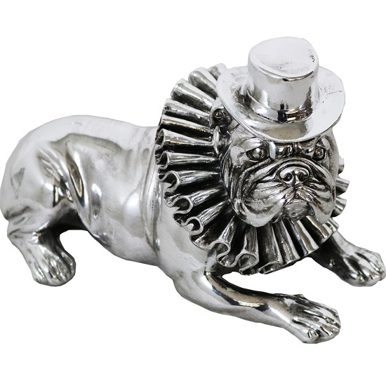 Bulldog With Hat And Ruffle Collar Sculpture_1