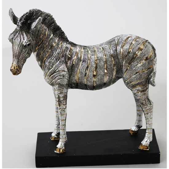 Zebra Sculpture In Silver Finish