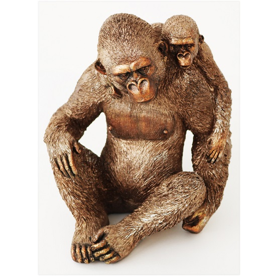 Great Ape Adult And Child Sitting Sculpture