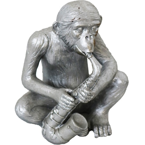 Monkey With Saxophone Sculpture In Silver Finish