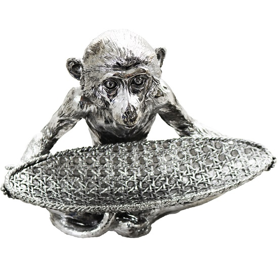 Monkey With Dish Sculpture