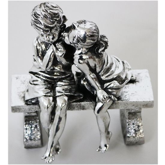 Boy and Girl Sitting on Bench Sculpture_1