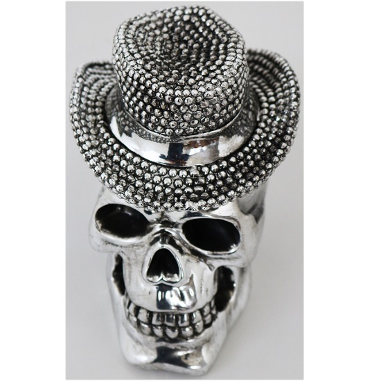 Product photograph showing Skull With Hat Sculpture