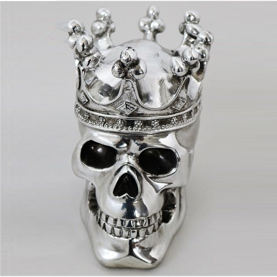 Crowned Skull Sculpture In Silver Finish