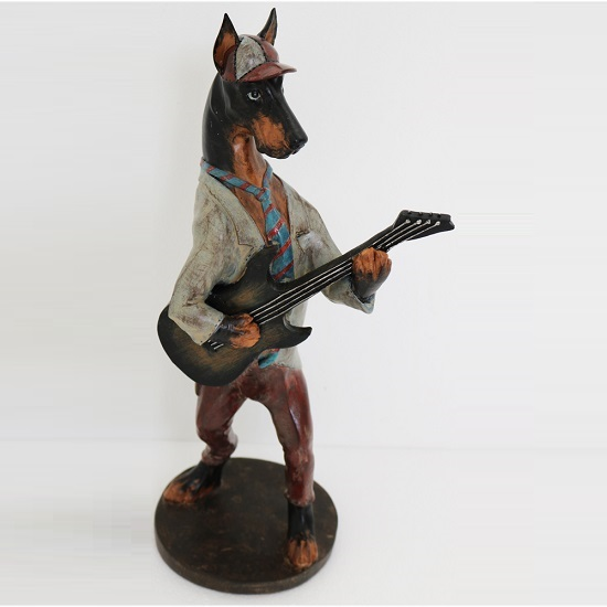 Dog With Guitar Sculpture