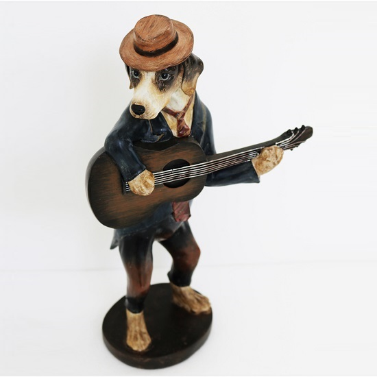 Dog Playing Guitar Sculpture