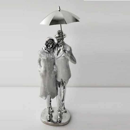 Couple With Umbrella Sculpture