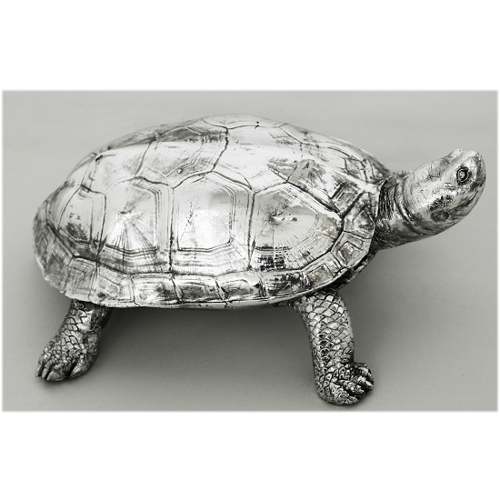 Turtle Sculpture In Silver Finish