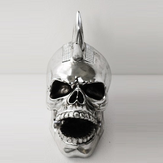 Laughing Skull Sculpture In Silver Finish