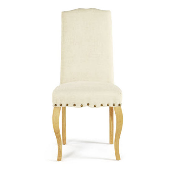 Madeline Dining Chair In Pearl Fabric And Oak Legs in A Pair_2