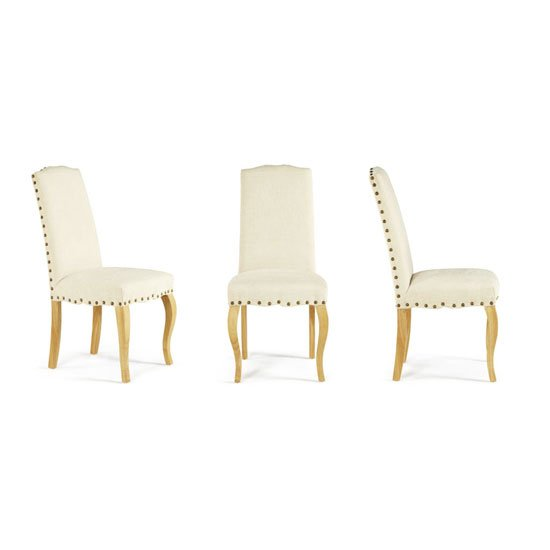 Madeline Dining Chair In Pearl Fabric And Oak Legs in A Pair_4
