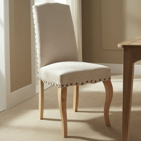 Madeline Dining Chair In Pearl Fabric And Oak Legs in A Pair_7