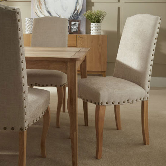 Madeline Dining Chair In Pearl Fabric And Oak Legs in A Pair_8