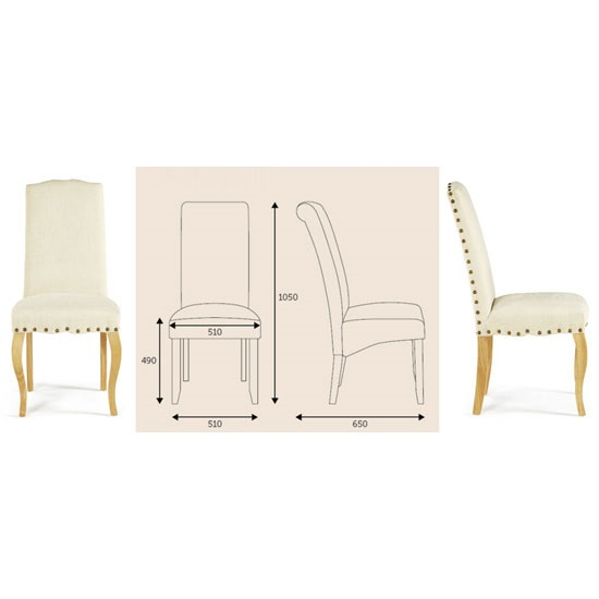 Madeline Dining Chair In Pearl Fabric And Oak Legs in A Pair_10