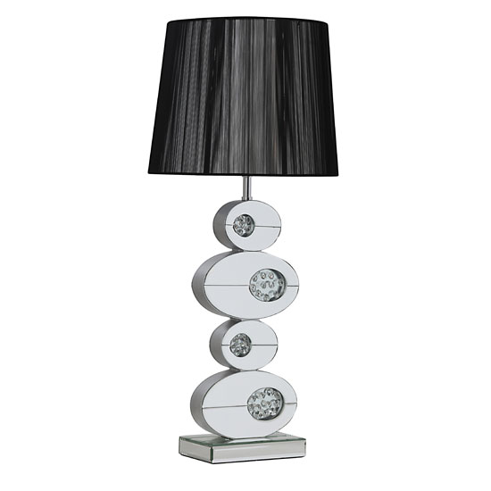 Melissa Table Lamp In Black With Mirrored Base In Silver Shade