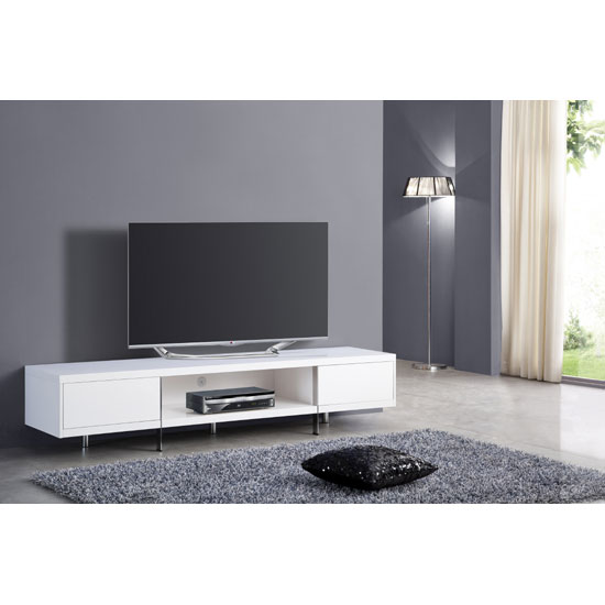 Casa coffee table in white gloss with chrome legs and drawer for White plasma tv stands