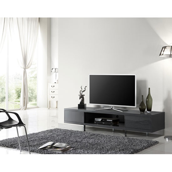 Mania Grey High Gloss Finish Plasma Tv Stand With 2 Drawer