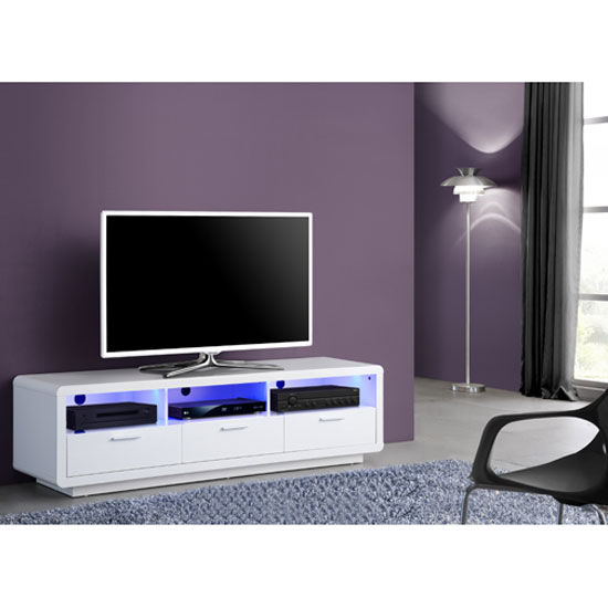Verona Extendable High Gloss Coffee Table In White 21025: Garde Sideboard High Gloss In White And Walnut With Led