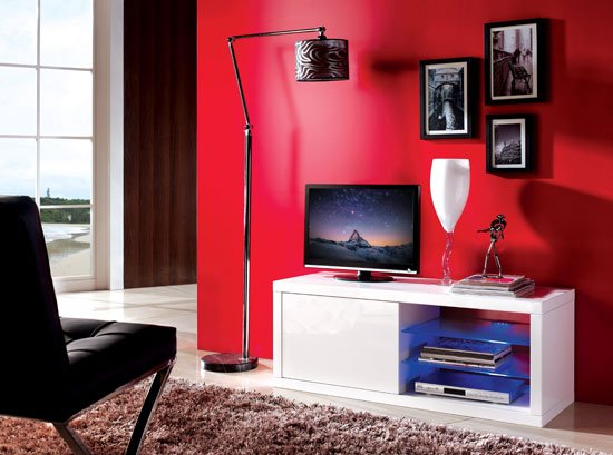 Consort Sliding Door LCD TV Stand In White Gloss With LED Lights
