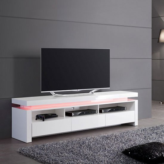 Led Stand Designs : Tivoli lcd tv stand in white gloss with drawers and led