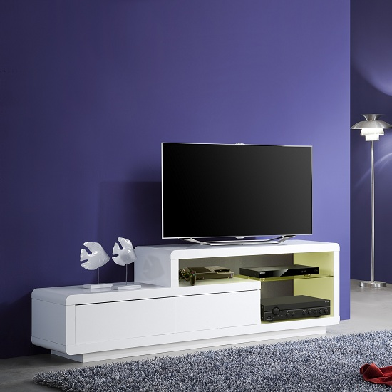 Oregon LCD TV Stand In White Gloss With 2 Drawers And LED Lights