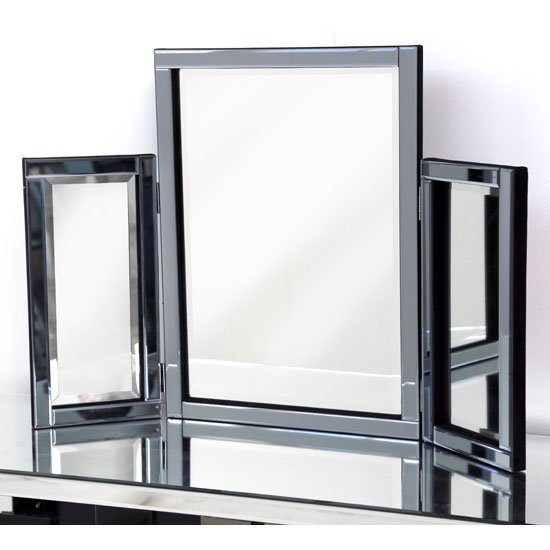 Bevel Classic Table Top Mirror In Smoke Grey Glass Border