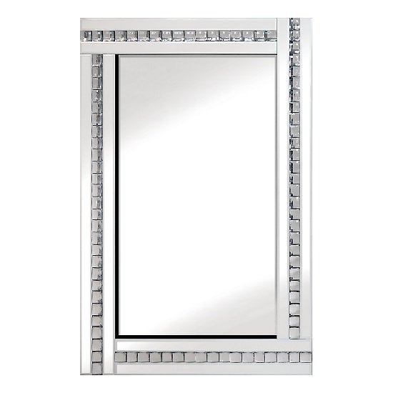 Daisy Wall Mirror Large In White With Acrylic Crystals Décor_1